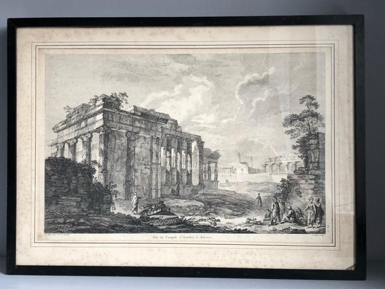 "A set of 5 full sheet copper engravings by Julien-David Le Roy from his 1758 series ""Les Ruines des plus Beaux Monuments de Grece"" matted and under glass in old ebonized wood frames. Collection includes Pl. I - Vue du Temple de Pola en Istrie, Pl."