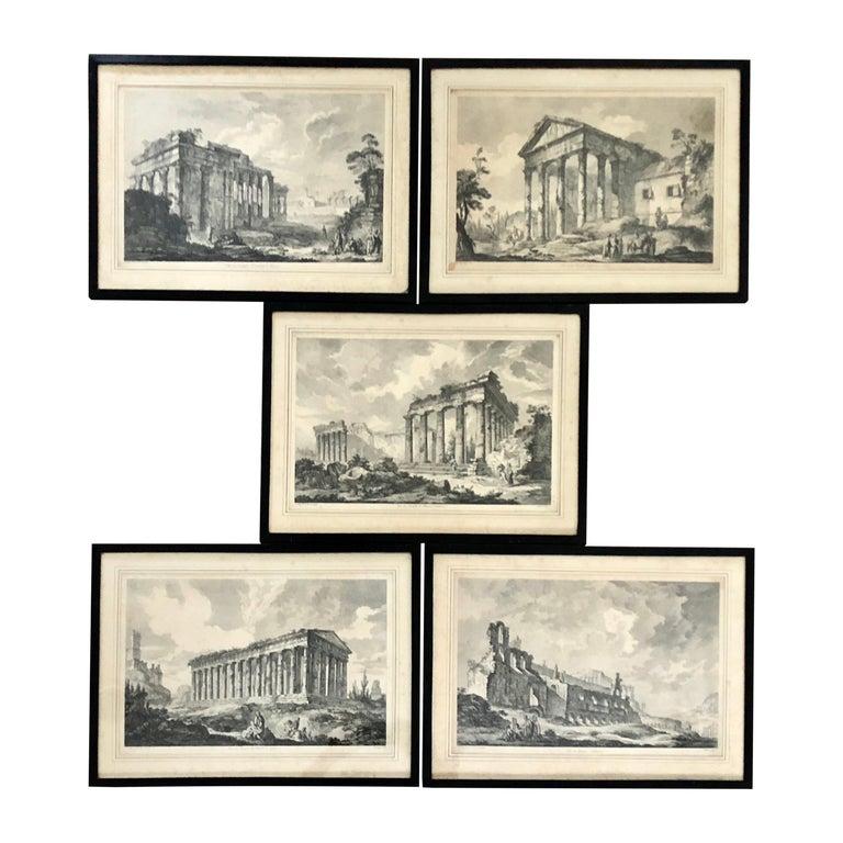 Set of 5 Engravings, 'Les Ruines De Grece' 1758, by Julien Le Roy For Sale