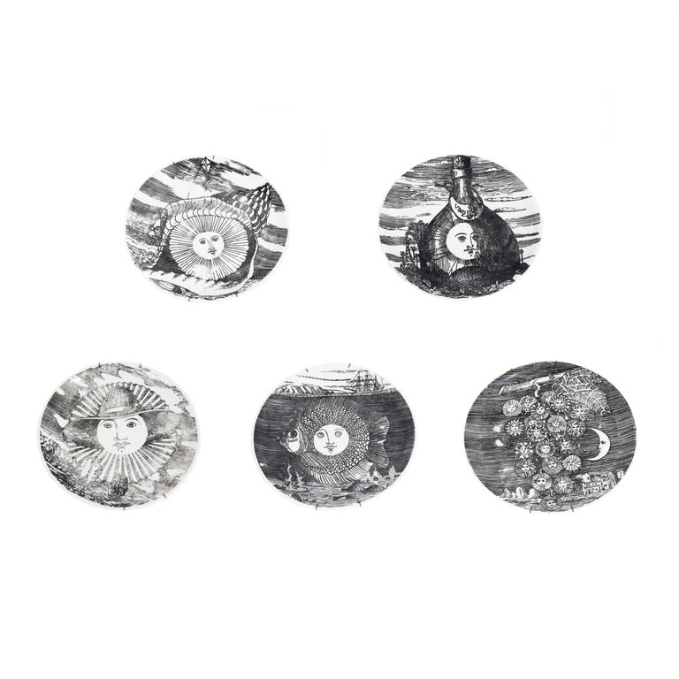 Set of 5 Fornesetti Decorative Plates For Sale