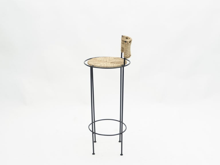 Set of 5 French Bar Stools Rope and Metal by Audoux Minet, 1950s For Sale 5