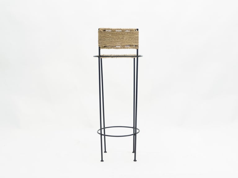 Set of 5 French Bar Stools Rope and Metal by Audoux Minet, 1950s For Sale 11