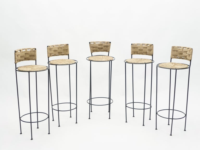 Mid-Century Modern Set of 5 French Bar Stools Rope and Metal by Audoux Minet, 1950s For Sale