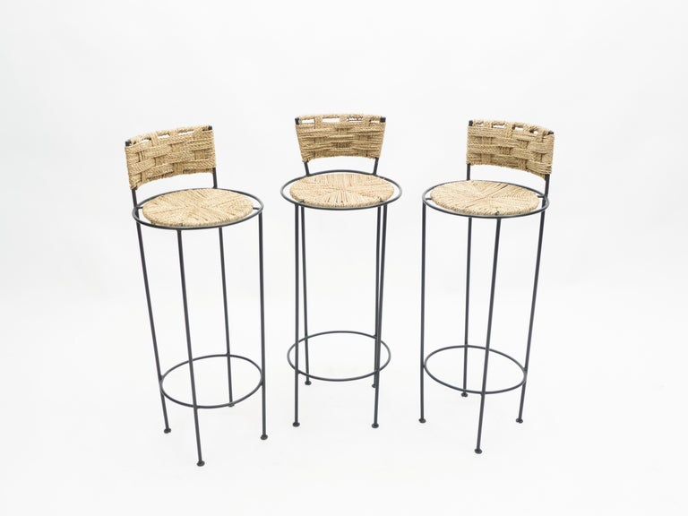 Set of 5 French Bar Stools Rope and Metal by Audoux Minet, 1950s In Good Condition For Sale In Paris, FR