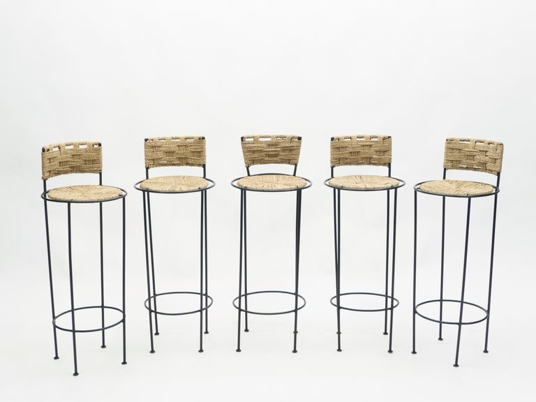 Mid-20th Century Set of 5 French Bar Stools Rope and Metal by Audoux Minet, 1950s For Sale