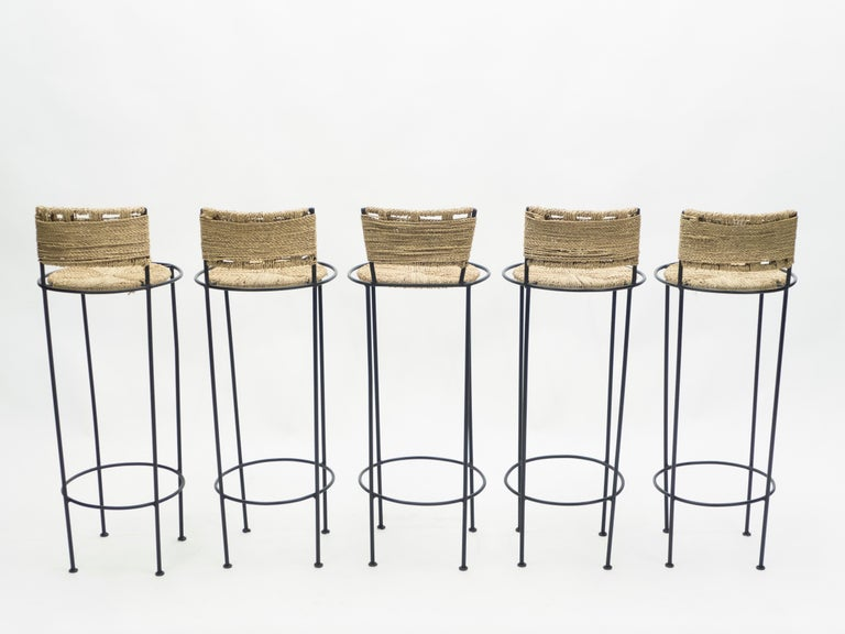 Set of 5 French Bar Stools Rope and Metal by Audoux Minet, 1950s For Sale 1