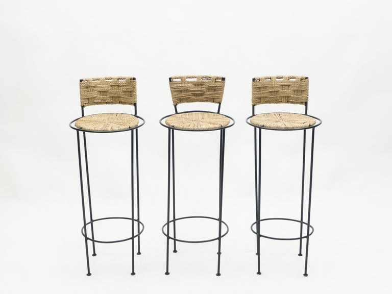Set of 5 French Bar Stools Rope and Metal by Audoux Minet, 1950s For Sale 2