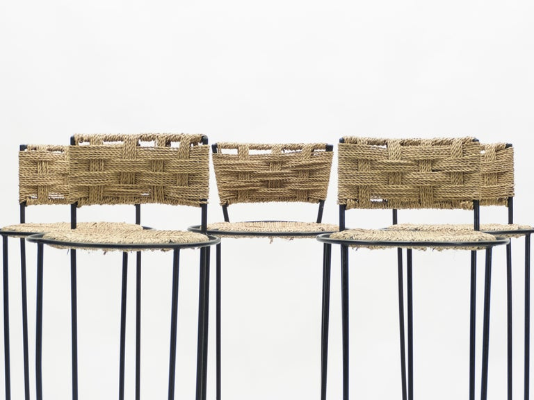 Set of 5 French Bar Stools Rope and Metal by Audoux Minet, 1950s For Sale 3