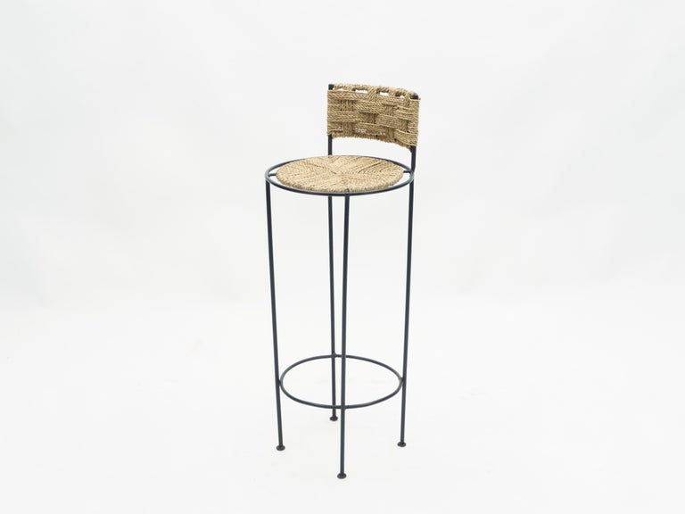 Set of 5 French Bar Stools Rope and Metal by Audoux Minet, 1950s For Sale 4