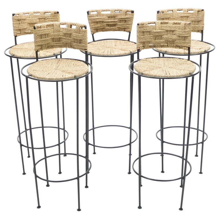 Set of 5 French Bar Stools Rope and Metal by Audoux Minet, 1950s For Sale