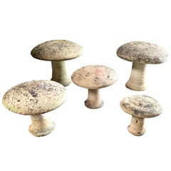 Set of 5 French Concrete Garden Mushroom Sculptures