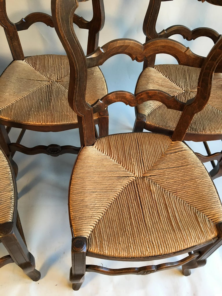 Louis XV Set of 5 French Country Chairs For Sale