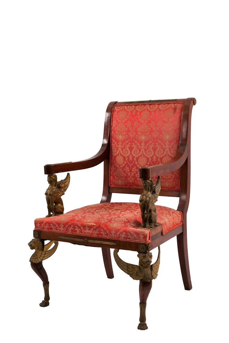 Set of 5 French Empire-style (19th century) mahogany salon or living room set with bronze trim and red damask upholstery.   Measurements:  2 arms 27½