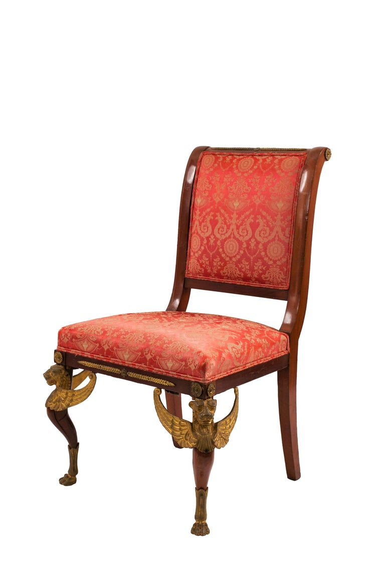 Set of 5 French Empire Mahogany Living Room Set In Good Condition For Sale In New York, NY
