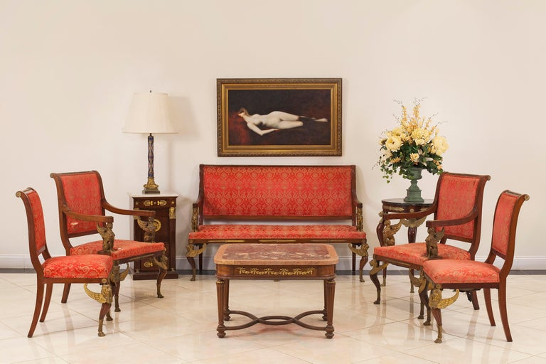 19th Century Set of 5 French Empire Mahogany Living Room Set For Sale
