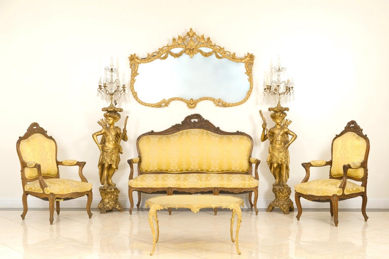 Set of 5 French Louis XV Style High Back Salon Set For Sale 5