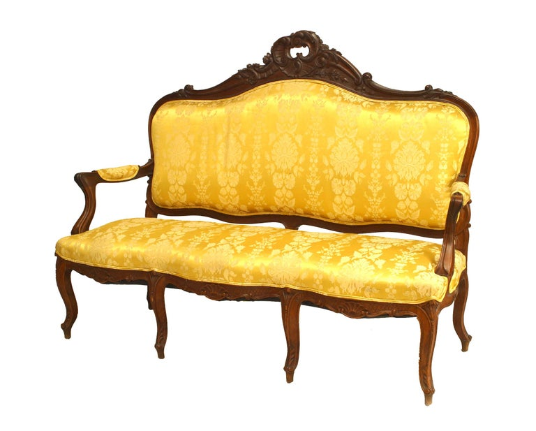 Damask Set of 5 French Louis XV Style High Back Salon Set For Sale