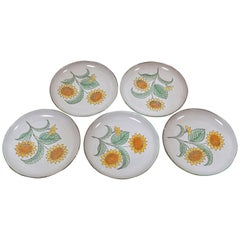 Set of 5 French Midcentury Sunflower Plates, circa 1950