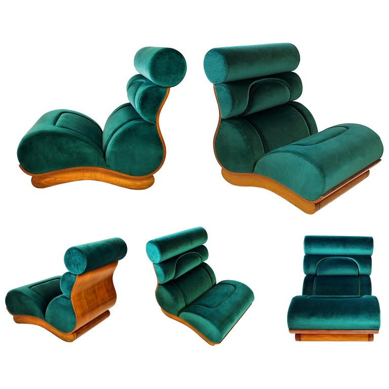 Set of 5 French Modern Walnut and Turquoise Velvet Upholstered Chairs For Sale