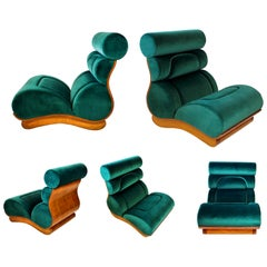 Set of 3 French Modern Walnut and Turquoise Velvet Upholstered Chairs