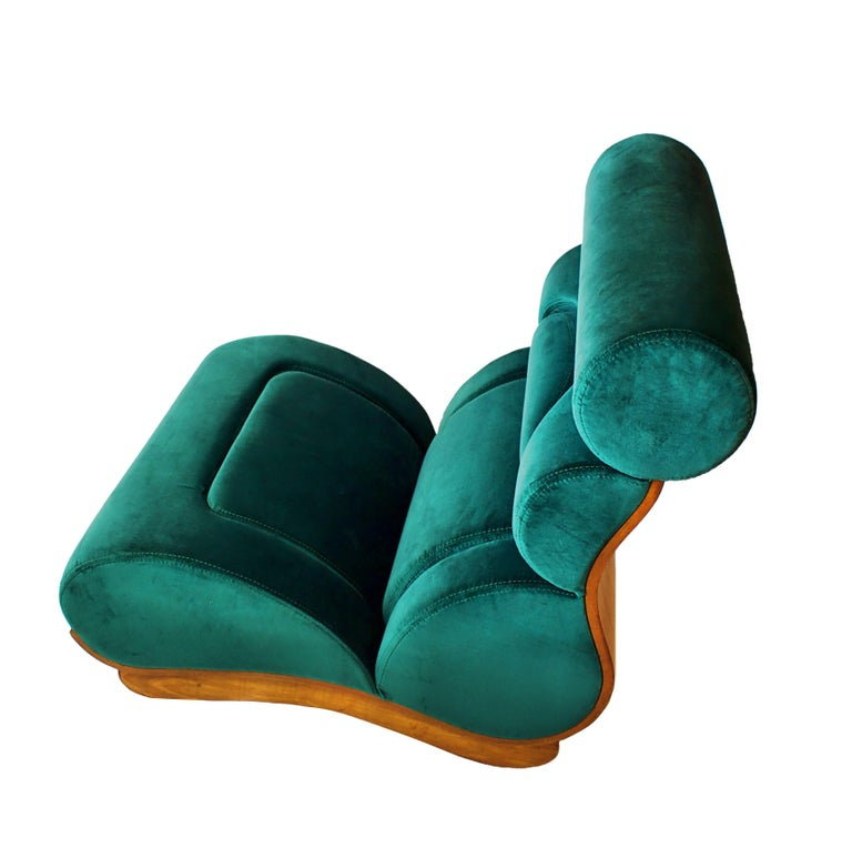 Set of 5 French Modern Walnut and Turquoise Velvet Upholstered Chairs For Sale 5
