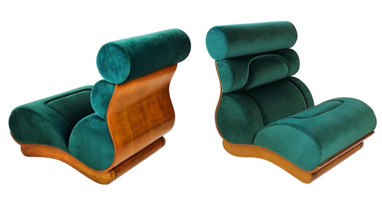 """A fine set of 5 French modern walnut and turquoise velvet upholstered chairs, Raphael Decorateur, 1960s. These beautiful lounges can free stand or join together to form an """"L"""" shaped sectional sofa. Original fabric. Pristine condition."""