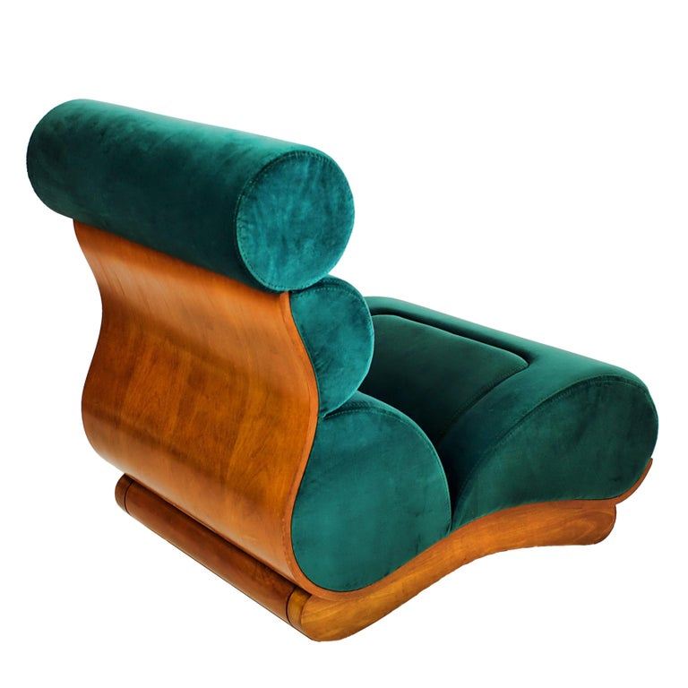 Set of 5 French Modern Walnut and Turquoise Velvet Upholstered Chairs In Good Condition For Sale In Miami, FL