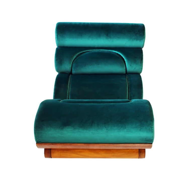 Mid-20th Century Set of 5 French Modern Walnut and Turquoise Velvet Upholstered Chairs For Sale