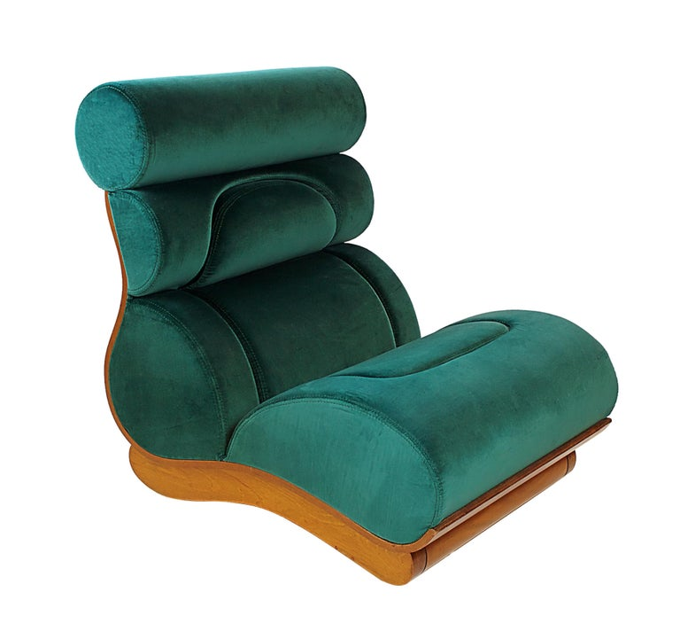 Set of 5 French Modern Walnut and Turquoise Velvet Upholstered Chairs For Sale 1