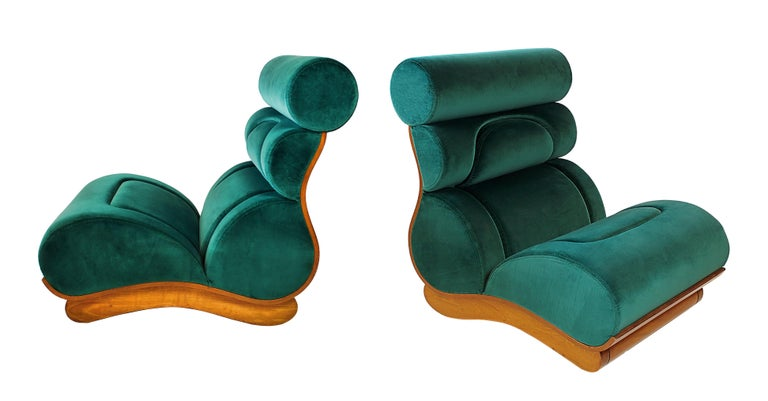 Set of 5 French Modern Walnut and Turquoise Velvet Upholstered Chairs For Sale 2