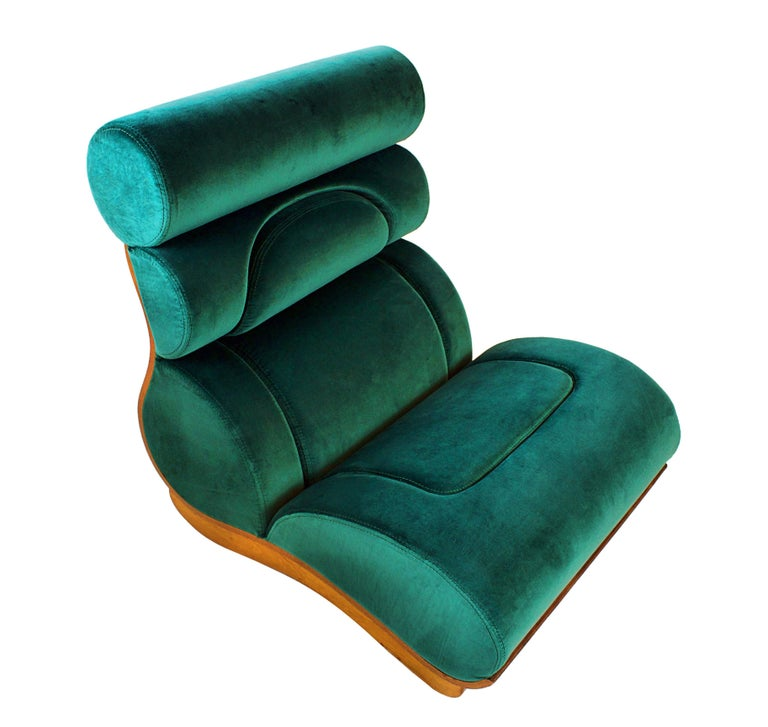 Set of 5 French Modern Walnut and Turquoise Velvet Upholstered Chairs For Sale 3