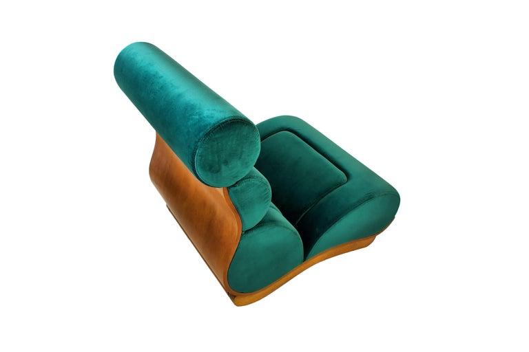 Set of 5 French Modern Walnut and Turquoise Velvet Upholstered Chairs For Sale 4