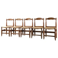 Set of 5 Guillerme et Chambron Oak and Rush Chairs