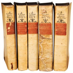 Set of 5 Italian 18th Century Vellum Books in Light Cream Color