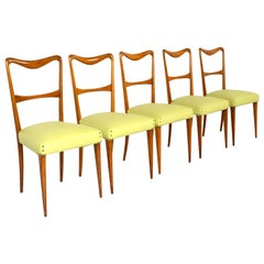 Set of 5 Italian Modern Dining Chairs in Style of Paolo Buffa, 1950s