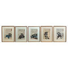 Set of 5 Japanese Prints of Samurai