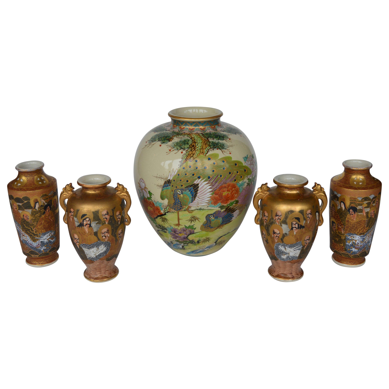 Set of 5 Japanese Satsuma Vases