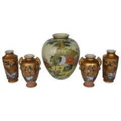 Set of 5 Japanese Satsuma Vases