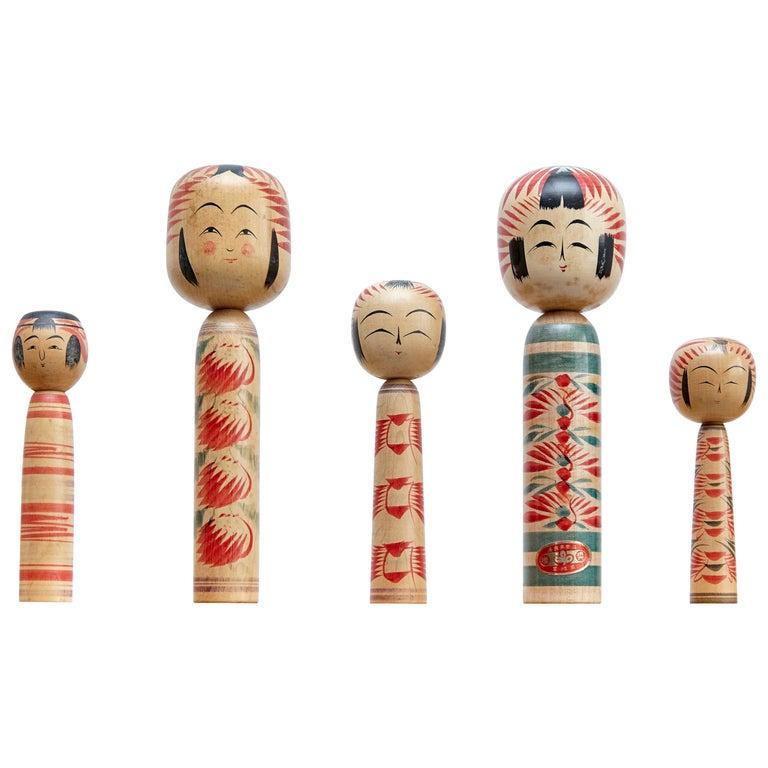 "Set of 5 ""Kokeshi"" Dolls For Sale"