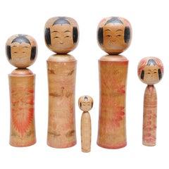 "Set of 5 ""Kokeshi"" Dolls"