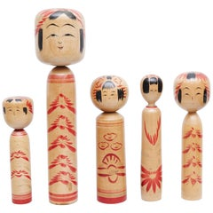 "Set of 5 ""Kokeshi"" Dolls"