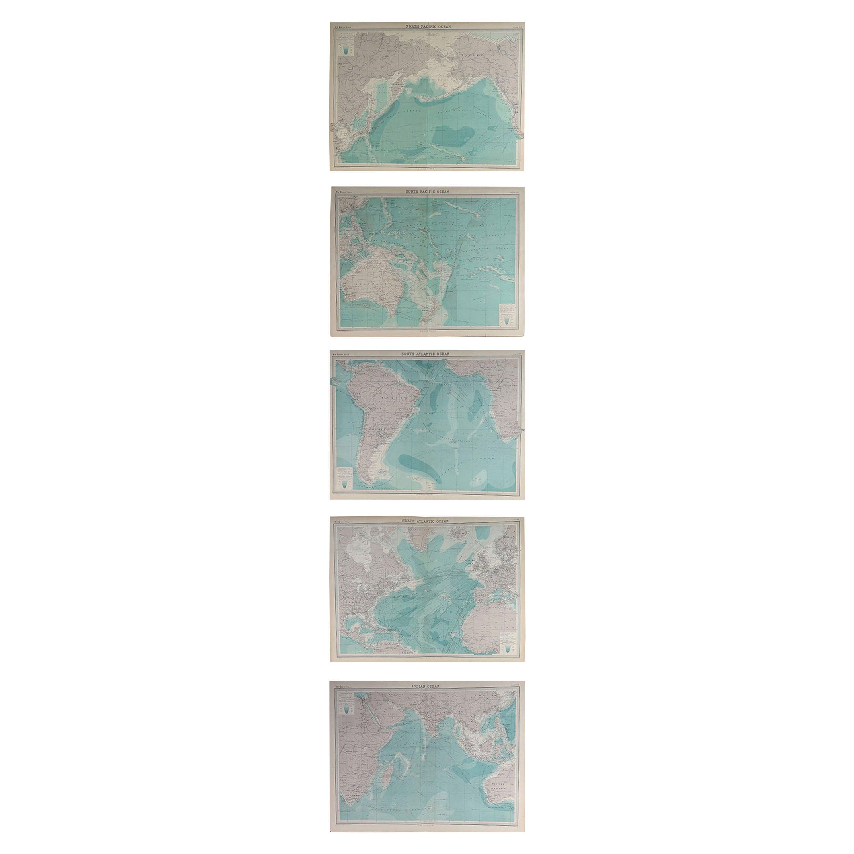 Set of 5 Large Original Vintage Sea Charts