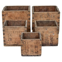 Set of 5 Late 19th Century Scandinavian Pine Measuring Containers