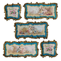 Set of 5 Louis XVI Sèvres Style Handpainted Porcelain and Bronze Mounted Plaques