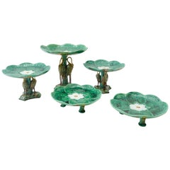 Set of 5 Majolica Pond Lily and Stork Cake Stands