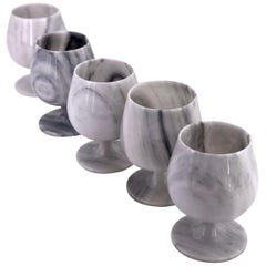Set of 5 Marble Wine / Water Footed Goblets