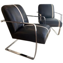 Set of 5 MCM Polished Stainless Steel Base Chairs from J. Robert Scott