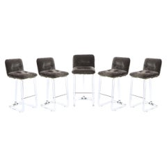 Set of 5 Mid Century Lucite & Chrome Bar Stools in Slate Mohair by Lion in Frost
