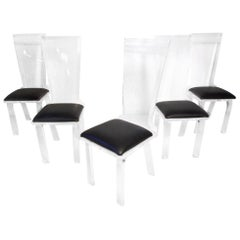 Set of 5 Midcentury Lucite Dining Chairs