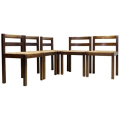 Set of 5 Modernist Dining Room Chairs in Wengé, Midcentury Dutch Design