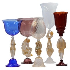 Set of 5 Murano Venetian Crystal Signoretto XL Glass Jars or Vases